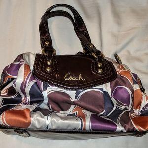 Coach purse - satin purple orange white